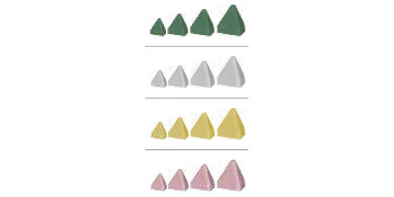 Plastic abrasive stone- tetrahedron yellow